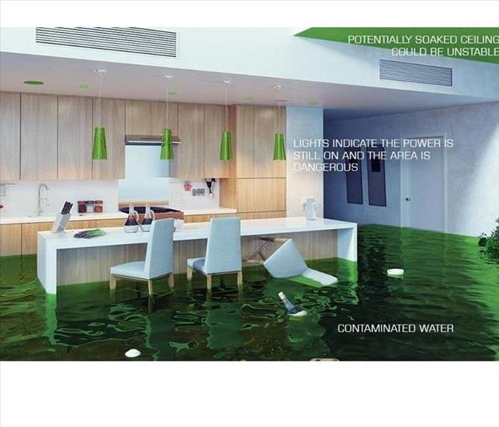 This image shows a flood in the kitchen of a home