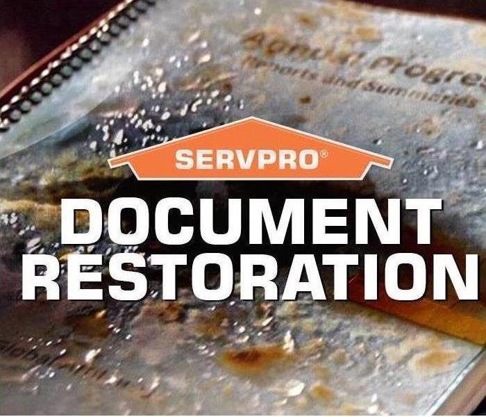 Image shows SERVPRO logo with damaged documents.